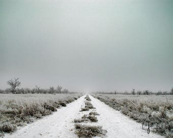 Frozen road photograph on metal print, fine art photography, metal print, wall art, winter, gift, ranch, west Texas, symmetrical,