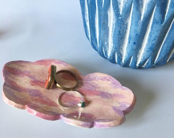Small Jewelry Dish / Ceramic Cloud Dish / Pink Jewelry Dish / Cloud Trinket Dish / Pink Handmade Dish / Hand Painted Dish / Cloud Dish