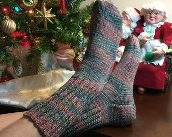 Warm Stripe Hand Knit Washable Wool Socks