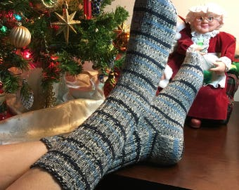 Blue Lines Hand Knit Washable Wool Socks