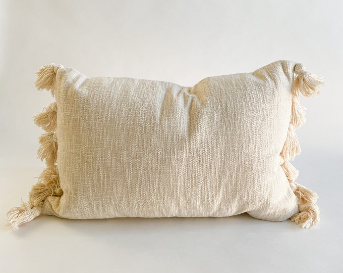 """Featured listing image: 22""""x14"""" Cotton Ivory White Rectangular Throw Pillow with Side Tassels-Home Accent-Include Pillow Cover & Removable Insert Pillow-Side Zipper"""