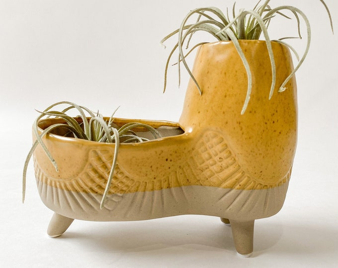 """Featured listing image: 8""""L x 4""""W x 6.5""""H Footed Stoneware Double Planter, Mustard Planter Pot, Beige, Fish Skin Like Design Planter"""