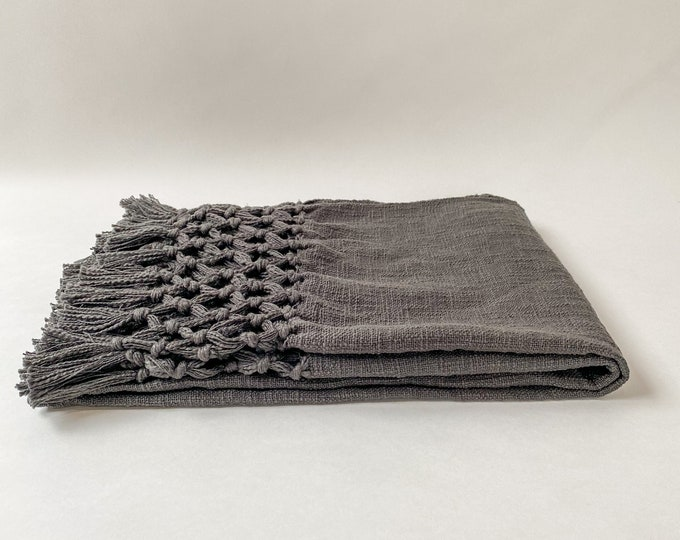 """Featured listing image: 50""""L x 60""""W Woven 100% Cotton Throw with Crochet & Fringe, Charcoal Dark Gray, Blanket,"""