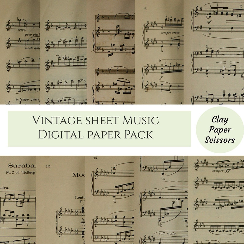 picture about Printable Sheet Music for Crafts named Basic piano and violin sheet audio electronic paper pack for sbooking paper crafts. 10 distinctive internet pages printables, decoupage, professional hire