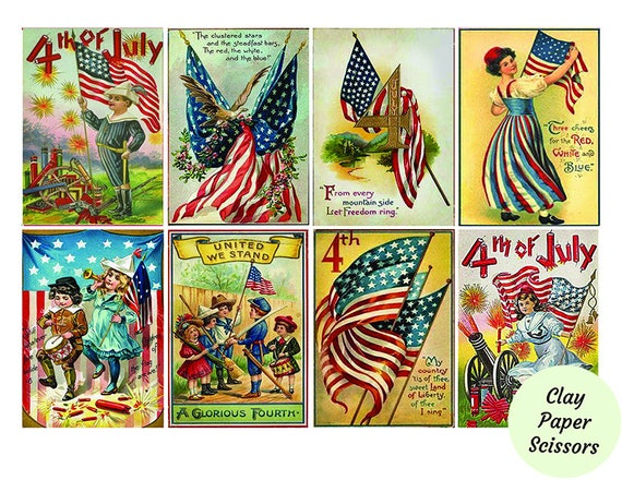 4th Of July Cards Patriotic Digital Download 2 5 Etsy