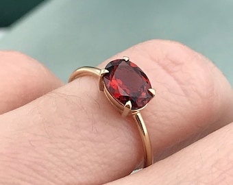 ring for women Yellow Gold Peridot Solitaire Ring wife gift girlfriend gift Simple Gemstone Gold Band Ring August Birthstone Ring