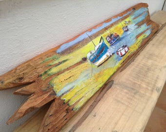 Hand Painted Harbour Scene on Driftwood