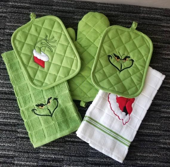 Mr Mean One Kitchen Towel Set/Christmas Towel Set/Lime Green Kitchen  Towel/Christmas Gift/Gift Exchange/Ready to Ship/Dirty Santa/Potholder