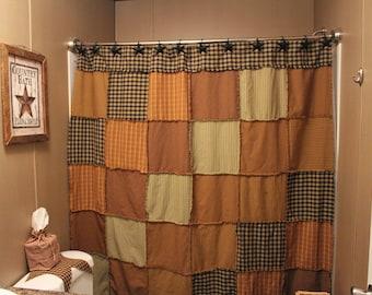Primitive Rag Shower Curtain Fall Theme Ready To Ship