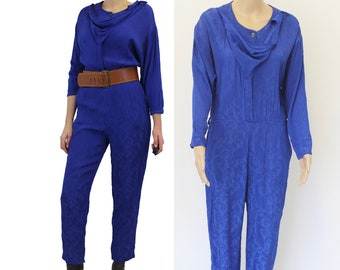 287ad217ece 80s Royal Blue Jumpsuit   1980s Romper   Retro   Vintage Jumpsuit    Small medium