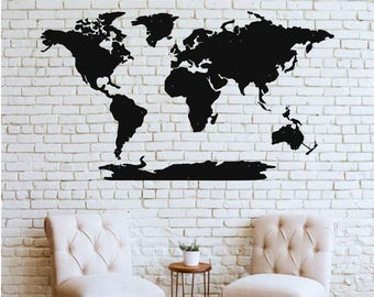 World map wall art etsy world map wall art 3d wall silhouette metal wall decor home office decoration bedroom living room decor sculpture gumiabroncs Images
