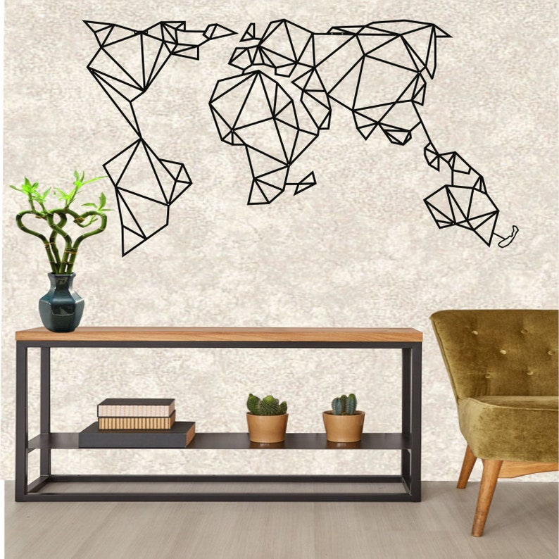 Geometric Metal World Map With New Zealand Metal Wall Decor Etsy