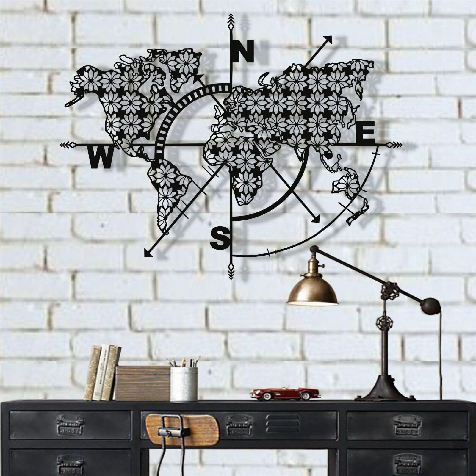 Metal World Map Wall Art Compass Flowers Metal Wall Decor Metal Sign Metal Wall Art Wall Hangings Interior Decoration Housewarming Gift