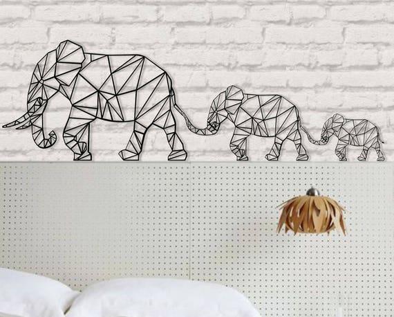 Elephant Wall Art Geometric Elephants Family 3d Wall Etsy