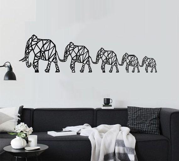 Metal Elephant Wall Art Geometric Elephants Family Metal Etsy