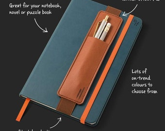 Personalised Elasticated Pen Pouch for Notebooks and Journals, Planners, Filofax etc. Ideal for any stationery nerd, reader, writer!
