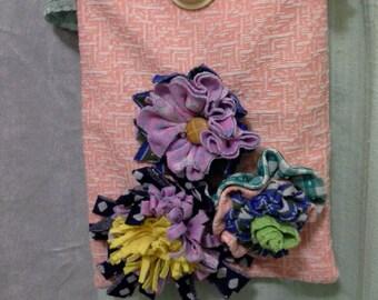 Handmade Double Knit Floral Shoulder Purse OOAK