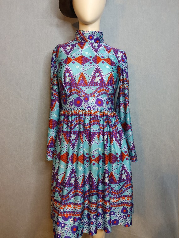 1970's Psychedelic Baby Doll Mini Dress - image 2