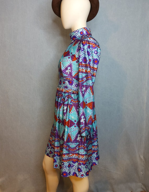 1970's Psychedelic Baby Doll Mini Dress - image 3