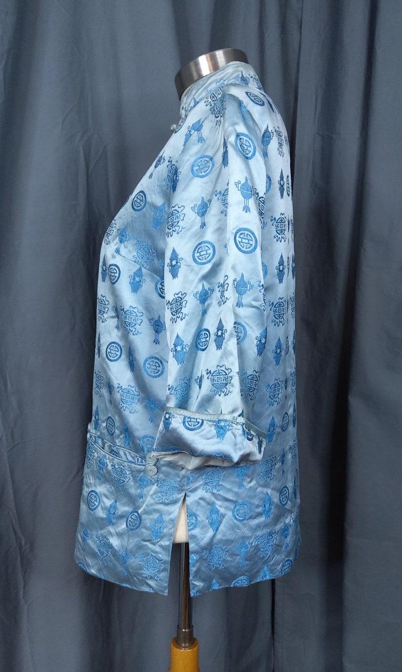 70/'s-80/'s Cheogsam Style Baby Blue Asian Jacket Shirt Sz SM