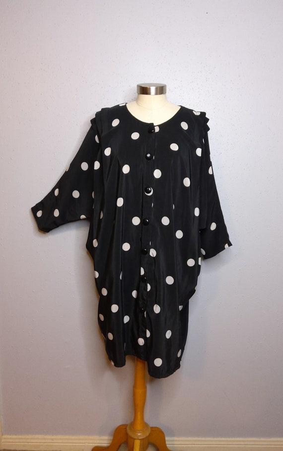 1980's Polka Dot Dolman Sleeve Fashion Evening Dre