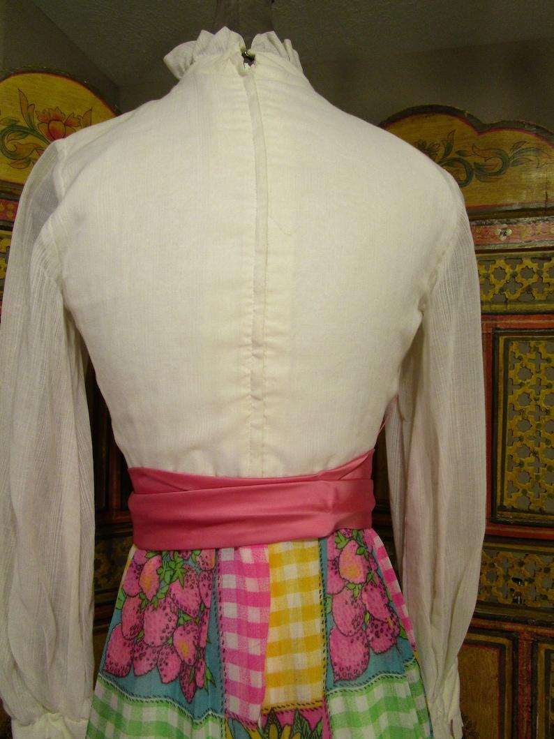 SALE-60/'s-70/'s Maxi Dress Patchwork Skirt Ruffled Top Long Dress SZ S
