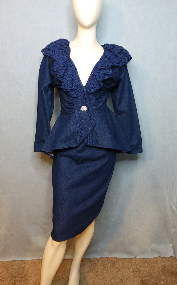 Vintage 80's 2-piece Denim and Lace Jacket Skirt S