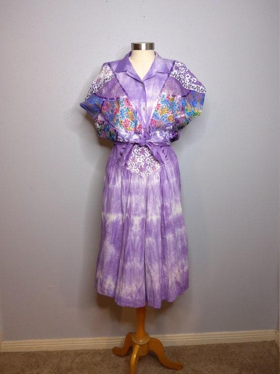 80's Two Piece Tye-Dye Summer Culott Set