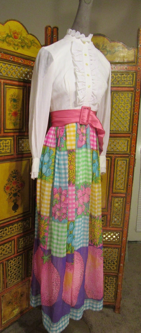 SALE-60's-70's Maxi Dress Patchwork Skirt Ruffled… - image 2