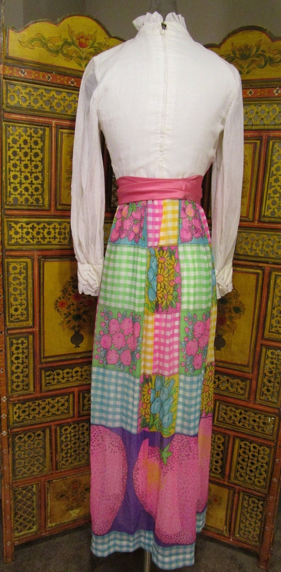 SALE-60's-70's Maxi Dress Patchwork Skirt Ruffled… - image 3
