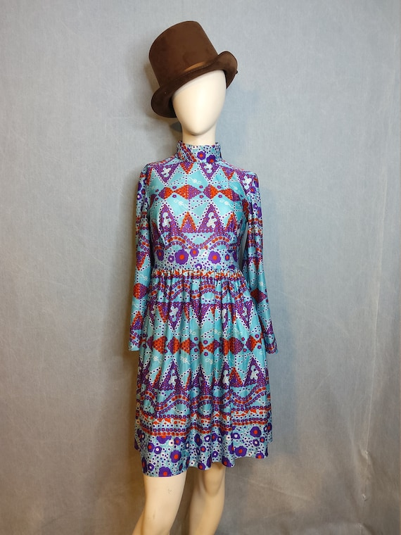 1970's Psychedelic Baby Doll Mini Dress