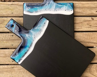 Resin Painted Bamboo Serving Board - Ocean Inspired Paddle Board