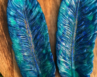 Resin Feather Dish - Blue & Green