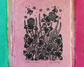 Red Clovers Linoleum Block Print, Vermont State Flower Linocut, Gift for Nature Lovers