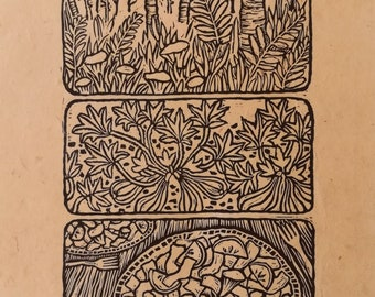 Midsummer Feast - Chanterelle and Squash Linoleum Block Print - Wall Art for Nature Lovers, Mushroom Foragers, and Vegetable Gardeners
