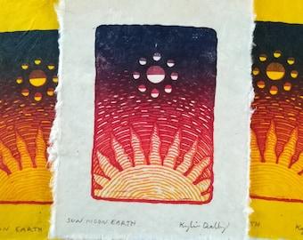 Sun Moon Earth Linocut Block Print on Lokta Paper, Celestial Outer Space Wall Art