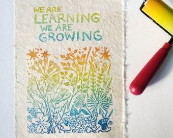 Learning and Growing, Rainbow Linocut Block Print, Inspirational Poster, Classroom Decor