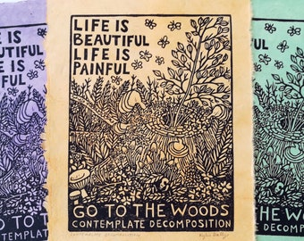 Contemplate Decomposition Linoleum Block Print, Colorful Hand Printed Wall Art for Nature Lovers