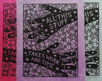 Work and Time Linoleum Block Print - Inspirational Wall Art for Crafters, Knitters, Quilters, Wood Workers, Teachers, Healers, Artists