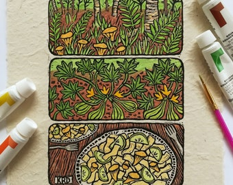 Chanterelle & Squash Linoleum Block Print - Hand Painted - Wall Art for Nature Lovers, Mushroom Foragers, and Vegetable Gardeners