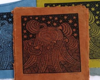 Hemlock Reishi Linoleum Block Print, Psychedelic Mushroom Wall Art, Gift for Nature Lovers