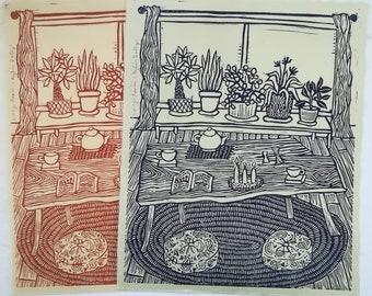 Living Room Linoleum Block Print on Kikta Kata Paper