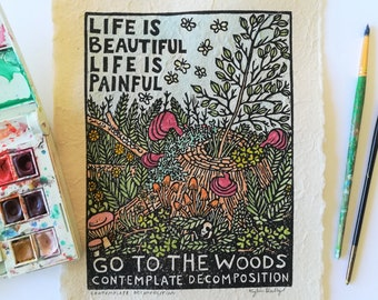 Contemplate Decomposition Linoleum Block Print with Watercolor, Colorful Hand Printed Wall Art for Nature Lovers