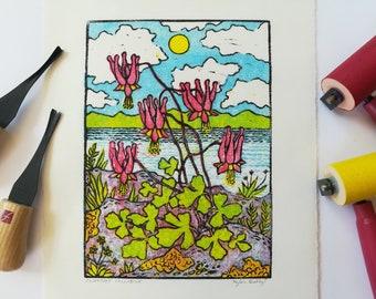 Cliffside Columbine Linoleum Block Print - Spring Wild Flower Wall Art for Nature Lovers - Lake Champlain Landscape Scene