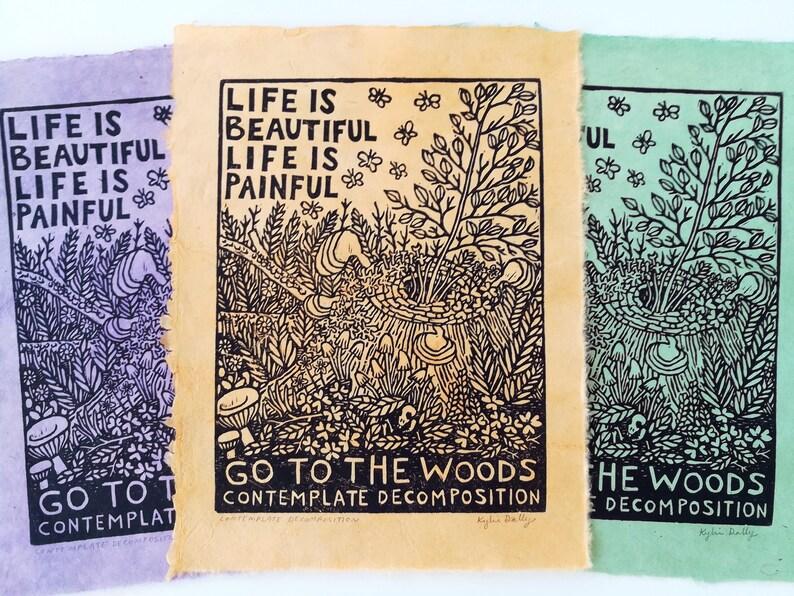 Contemplate Decomposition Linoleum Block Print Colorful Hand image 0