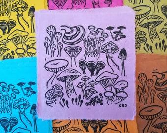 Mushrooms Linocut Block Print