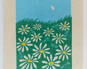 First Quarter Moon Linocut Block Print, Landscape Art Print with Daisies and Dragonflies
