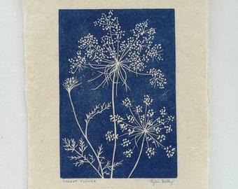 Carrot Flower Linoleum Block Print