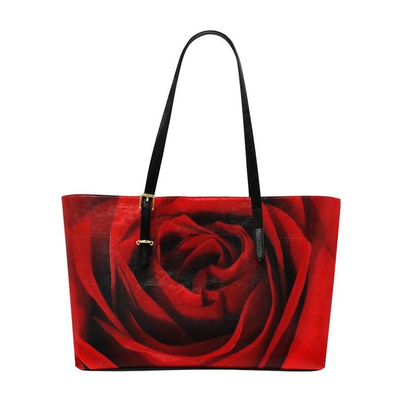 18.89 x 11.02 Eur-American Blooming Red Rose Tote Bag