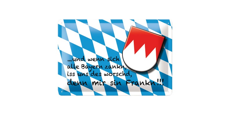 Tin sign Franken with funny saying 20 x 30 cm Bavaria image 0